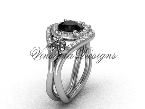 14kt white gold diamond Fleur de Lis wedding ring, engagement ring, Black Diamond VD10025 - Vinsiena Designs