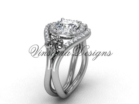 "14kt white gold diamond Fleur de Lis wedding ring, engagement ring, ""Forever One"" Moissanite VD10025 - Vinsiena Designs"