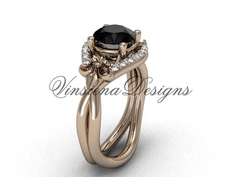 14kt rose gold diamond Fleur de Lis wedding ring, engagement ring, Black Diamond VD10026