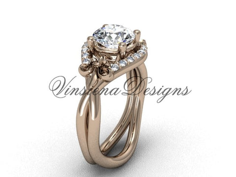 "14kt rose gold diamond Fleur de Lis wedding ring, engagement ring, ""Forever One"" Moissanite VD10026"