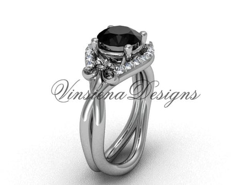 14kt white gold diamond Fleur de Lis wedding ring, engagement ring, Black Diamond VD10026 - Vinsiena Designs