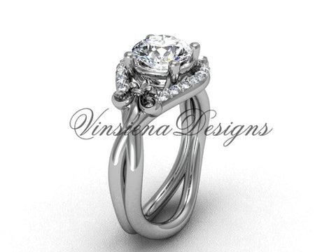 "14kt white gold diamond Fleur de Lis wedding ring, engagement ring, ""Forever One"" Moissanite VD10026"