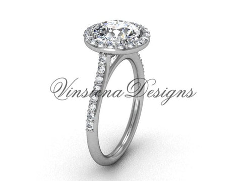 "Unique Platinum diamond wedding ring, engagement ring, ""Forever One"" Moissanite VD10030"