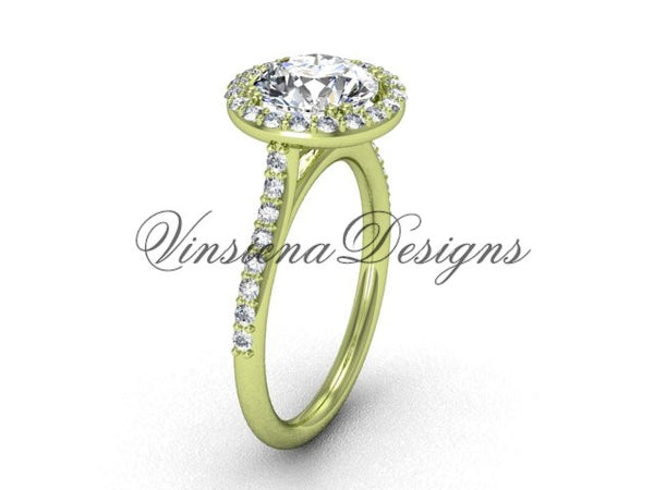 "Unique 14kt yellow gold diamond wedding ring, engagement ring, ""Forever One"" Moissanite VD10030 - Vinsiena Designs"