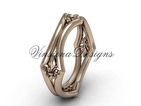 14kt rose gold Fleur de Lis wedding band VD10031