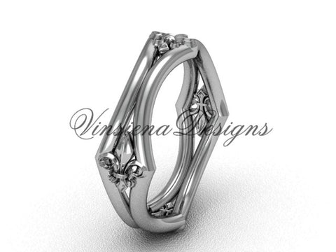 14k white gold Fleur de Lis wedding band VD10031