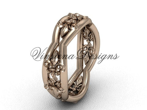 14kt rose gold Fleur de Lis, matte finish wedding band VD10032