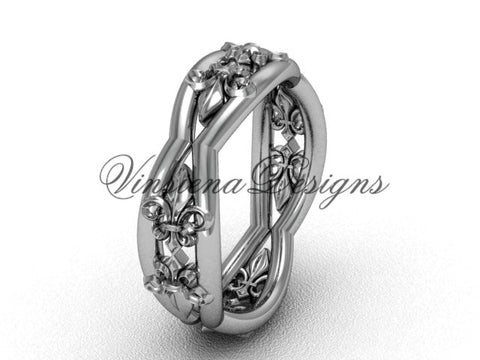 14k white gold Fleur de Lis wedding band VD10032