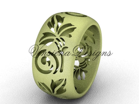 14kt yellow gold floral matte finish engagement ring, wedding band VD10034G - Vinsiena Designs