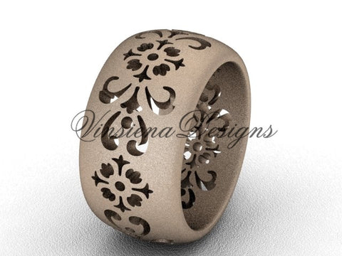 14kt rose gold floral matte finish engagement ring, wedding band VD10035G