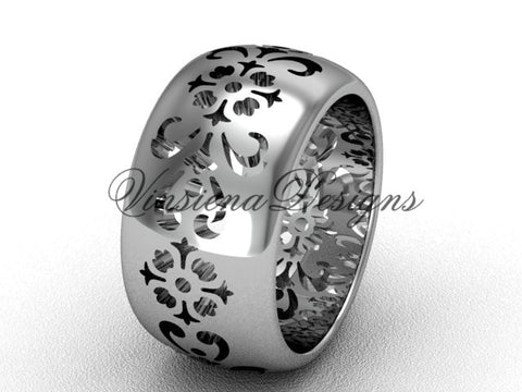 14kt white gold floral engagement ring, wedding band VD10035G