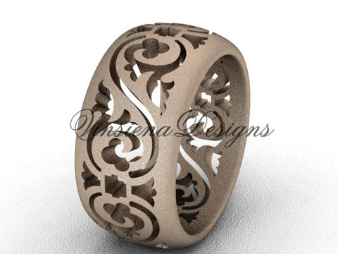 14kt rose gold floral matte finish engagement ring, wedding band VD10036G
