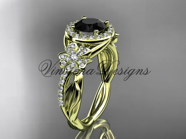 14kt yellow gold diamond Cherry Blossom flower, Sakura engagement ring Black Diamond VD10039 - Vinsiena Designs