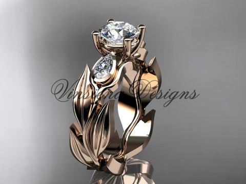 "14k rose gold leaf and vine, tulip flower engagement ring, ""Forever One"" Moissanite VD10049"