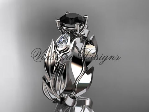 14k white gold leaf and vine, tulip flower engagement ring, Black Diamond VD10049