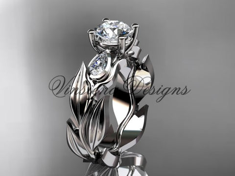 "14k white gold leaf and vine, tulip flower engagement ring, ""Forever One"" Moissanite VD10049"