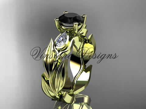 14k yellow gold leaf and vine,  tulip flower engagement ring, Black Diamond VD10049 - Vinsiena Designs