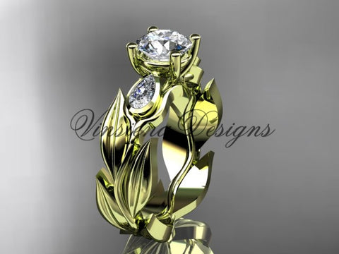 "14k yellow gold leaf and vine,  tulip flower engagement ring, ""Forever One"" Moissanite VD10049"