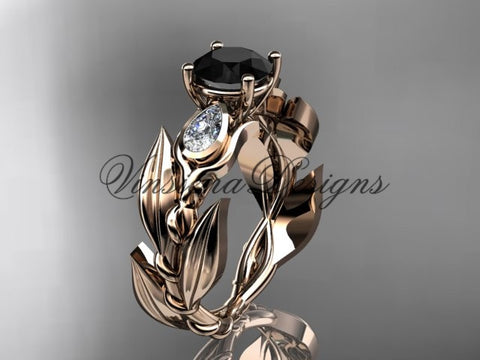14k rose gold leaf and vine, tulip flower engagement ring, Black Diamond VD10050
