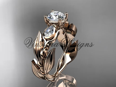 "14k rose gold leaf and vine, tulip flower engagement ring, ""Forever One"" Moissanite VD10050"