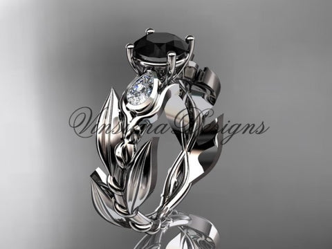 14k white gold leaf and vine, tulip flower engagement ring, Black Diamond VD10050