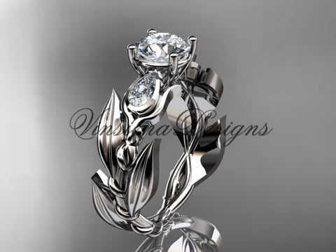 "14k white gold leaf and vine, tulip flower engagement ring, ""Forever One"" Moissanite VD10050"