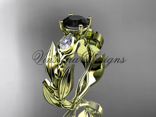 14k yellow gold leaf and vine, tulip flower engagement ring, Black Diamond VD10050 - Vinsiena Designs