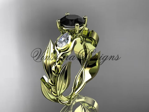 14k yellow gold leaf and vine, tulip flower engagement ring, Black Diamond VD10050