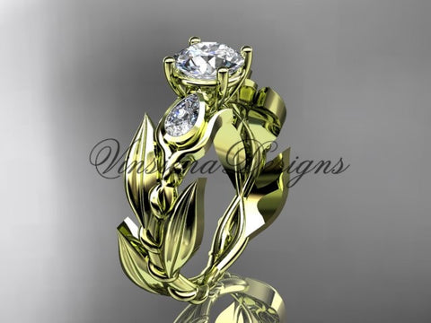 "14k yellow gold leaf and vine, tulip flower engagement ring, ""Forever One"" Moissanite VD10050 - Vinsiena Designs"