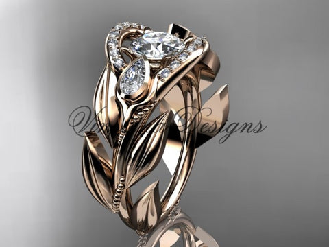 "14kt rose gold diamond, leaf and vine, tulip flower engagement ring, ""Forever One"" Moissanite VD10051"