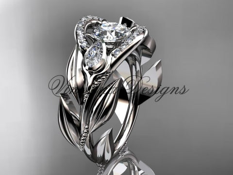 "14kt white gold diamond, leaf and vine, tulip flower engagement ring, ""Forever One"" Moissanite VD10051"