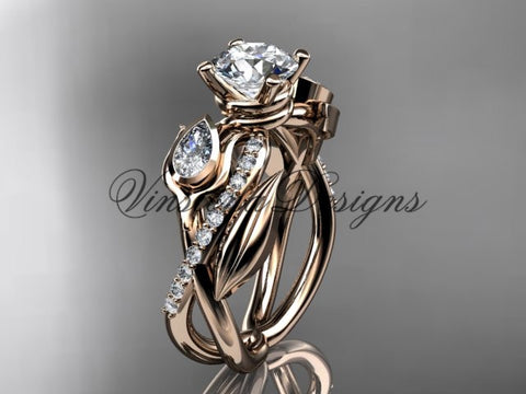 "14kt rose gold diamond, leaf and vine, tulip flower engagement ring, ""Forever One"" Moissanite VD10052"