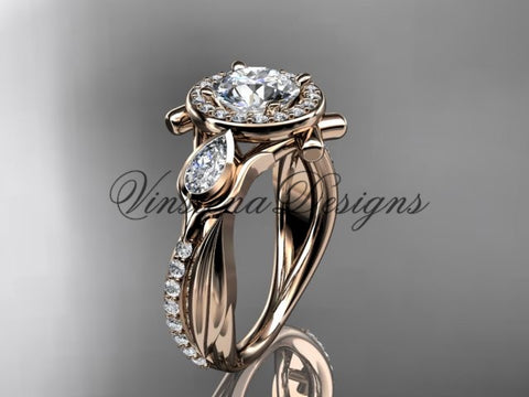 "14kt rose gold diamond leaf and vine, tulip flower engagement ring, ""Forever One"" Moissanite VD10053"