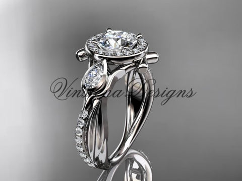 "14kt white gold diamond leaf and vine, tulip flower engagement ring, ""Forever One"" Moissanite VD10053"