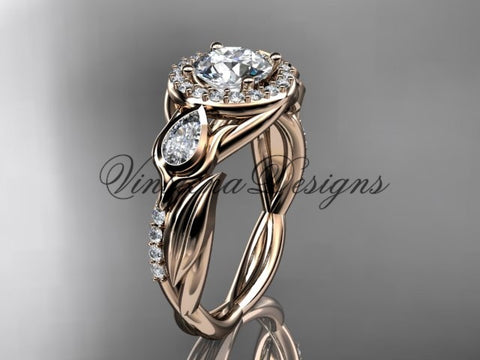 "14kt rose gold diamond leaf and vine, tulip flower engagement ring, ""Forever One"" Moissanite VD10054"