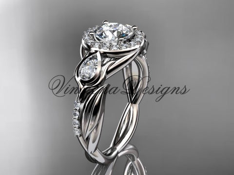 "14kt white gold diamond leaf and vine, tulip flower engagement ring, ""Forever One"" Moissanite VD10054"