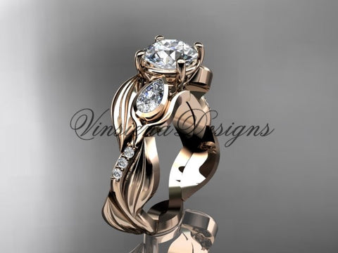 "14kt rose gold diamond leaf and vine, tulip flower engagement ring, ""Forever One"" Moissanite VD10055"
