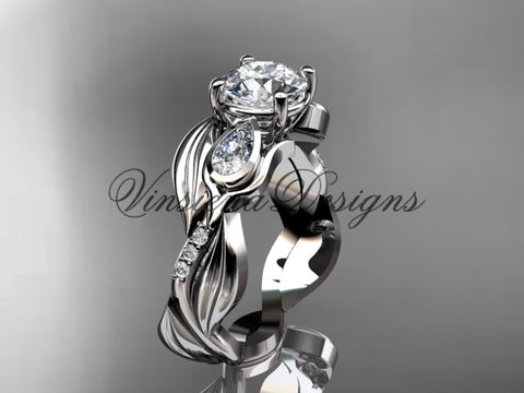 "14kt white gold diamond leaf and vine, tulip flower engagement ring, ""Forever One"" Moissanite VD10055"