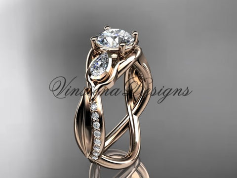 "14kt rose gold diamond leaf and vine, tulip flower engagement ring, ""Forever One"" Moissanite VD10056"