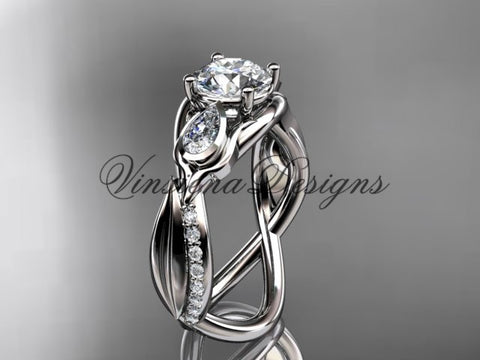 "14kt white gold diamond leaf and vine, tulip flower engagement ring, ""Forever One"" Moissanite VD10056"