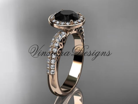 14kt rose gold diamond Fleur de Lis engagement ring, Black Diamond VD10057