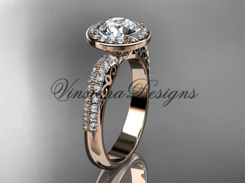 "14kt rose gold diamond Fleur de Lis engagement ring, ""Forever One"" Moissanite VD10057"