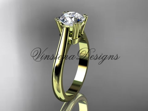 14k yellow gold wedding ring, engagement ring VD10058 - Vinsiena Designs