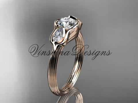 "14kt rose gold leaf and vine, tulip flower engagement ring, ""Forever One"" Moissanite VD10059"