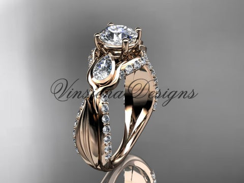 "14kt rose gold diamond leaf and vine wedding ring, tulip flower engagement ring, ""Forever One"" Moissanite VD10060"