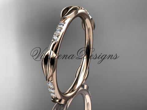 14k rose gold diamond leaf and vine wedding band VD10061 - Vinsiena Designs