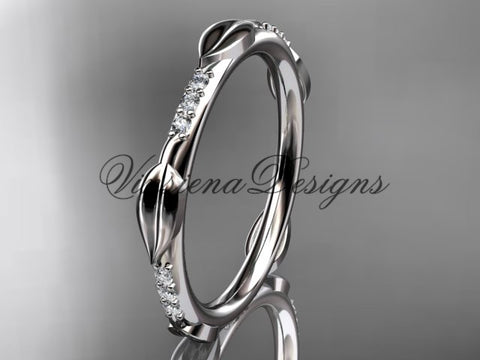 Platinum diamond leaf and vine wedding band VD10061 - Vinsiena Designs