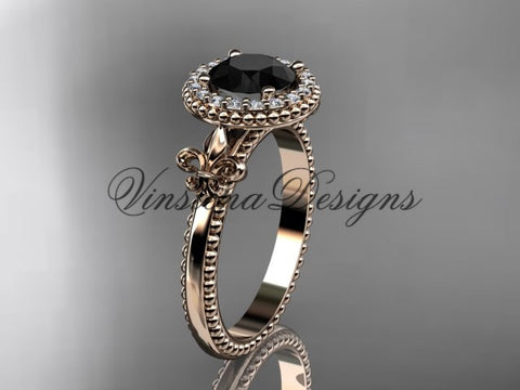 14kt rose gold diamond Fleur de Lis engagement ring, Black Diamond VD10063