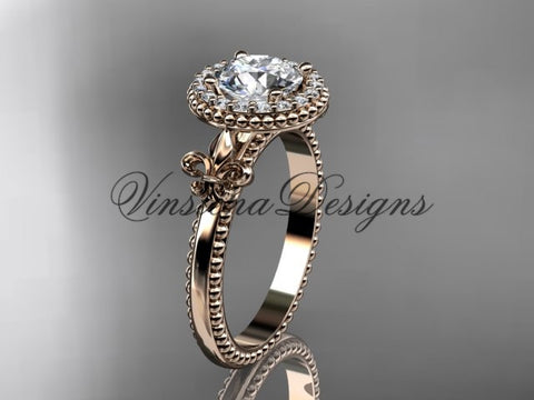 "14kt rose gold diamond Fleur de Lis engagement ring, ""Forever One"" Moissanite VD10063"