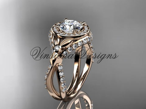 14k rose gold leaf and vine, flower engagement ring, VD10065